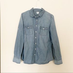 J. Crew Classic Chambray Button Down Top